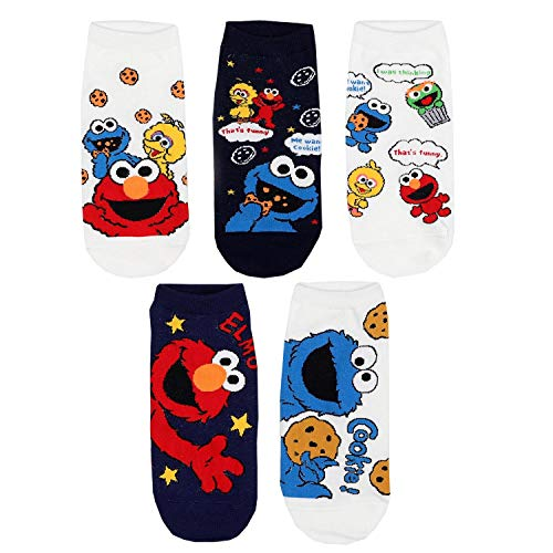Animation Comics Süß Charakter Sesamstraße - Elmo, Krümelmonster, Bibo Damen Knöchel Socken mit Beutel Packung mit 5 Paaren