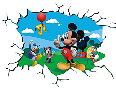 Mickey Mouse Wall Crack V001 Magic Window Wall Sticker Self Adhesive Poster Wall Art size 1000mm wide x 600mm deep (large) by Chicbanners