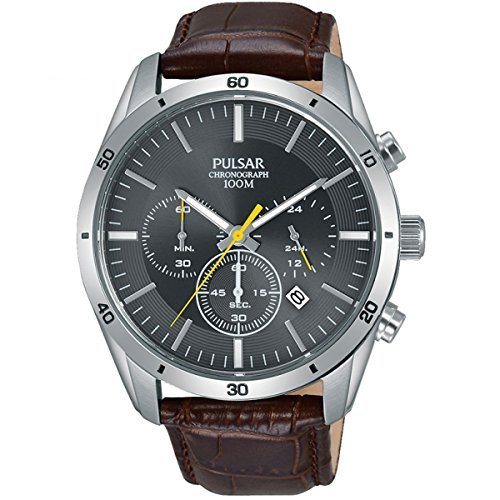Pulsar Gents Brown Leather Grey Face Chrono PT3837X1