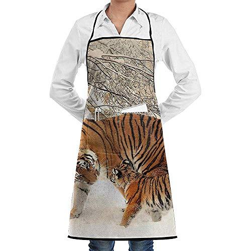 Schnee Kostüm Tiger - UQ Galaxy Schürze,Tiger im Schnee Schürze Spitze Adult Chef Einstellbare Lange vollschwarze Küche Schürzen Lätzchen mit Taschen zum Basteln Garten BBQ