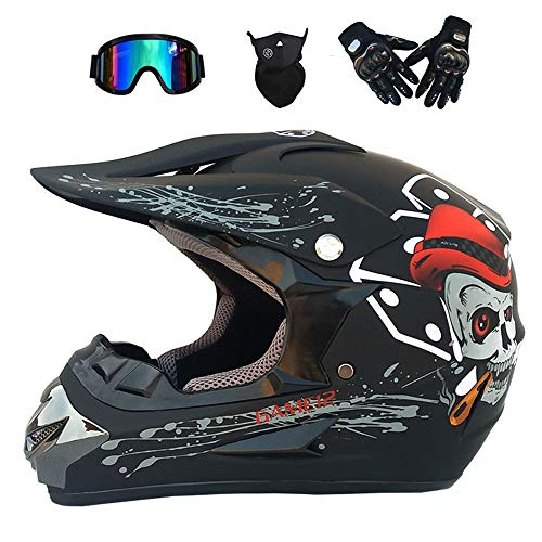 GWJ Adult Off Road Helm Dot Dirt Bike Motocross ATV Helm/Brille/Maske/Handschuhe,Blackskull,XL