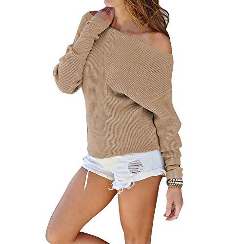 Yieune Pullover Damen Jumper Sweatshirt Rückenfrei Lange Ärmel Strickjacken Casual Oberteile (Khaki M)