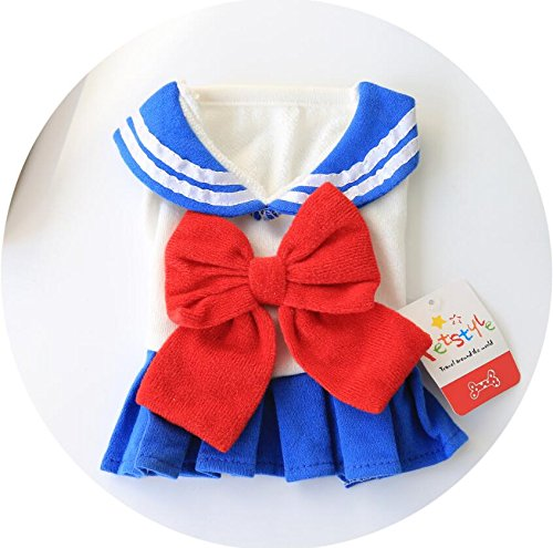 Xinjiener Hundepullover Haustierkleidung Cute Pure College Girl Rock Katze Hundebekleidung Blau XL (College Girl Kostüm)