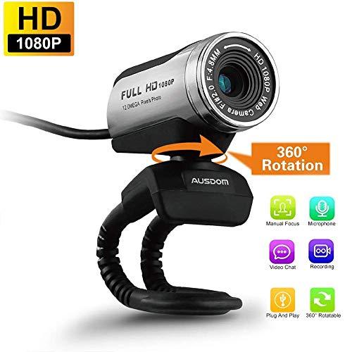 USB Webcam 1080P, ausdom 12,0 m HD Kamera Web Cam mit Mikrofon für Laptop Desktop Computer PC Skype vedieo Call & Aufnahme, kompatibel mit Windows 7/8/10, Belichtungsautomatik, DIGITAL Zoom Zoom Digital Cam