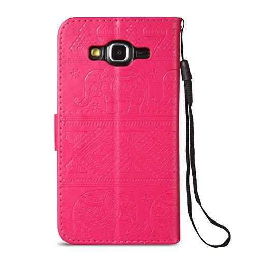 Für Samsung Galaxy J5 Premium Leder Schutzhülle, weiche PU / TPU geprägte Textur Horizontale Flip Stand Case Cover mit Lanyard & Card Cash Holder ( Color : Blue ) Red