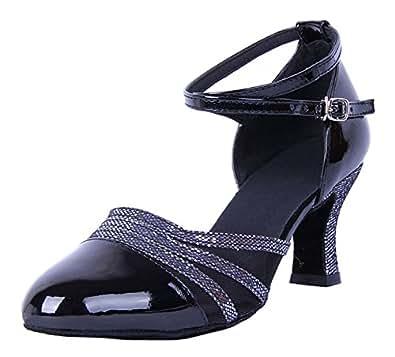 Honeystore Damen's Knöchelriemen Schnalle Lackleder Tanzschuhe Schwarz 3 UK