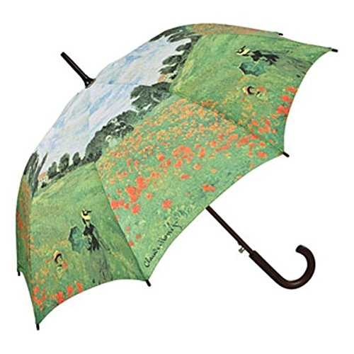 MySchirm Designer Regenschirm mit Mohnblumenfeld Claude Monet - Eleganter Stockschirm - Luxus Design - Automatikschirm