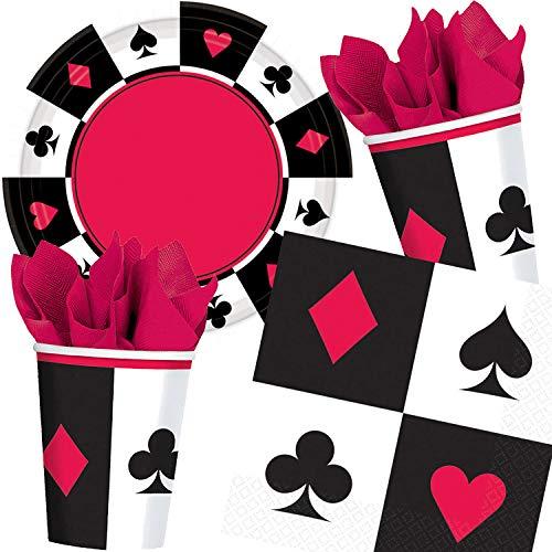 (Carpeta 33-TLG. Party-Set * Place Your Bet - Poker * für eine Pokerrunde   mit Teller + Becher + Servietten   Mottoparty Pokerspiel Kartenspiel Motto Runde)