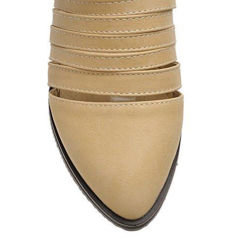 AllhqFashion Femme Pu Cuir à Talon Bas Rond Couleur Unie Boucle Chaussures Légeres Abricot