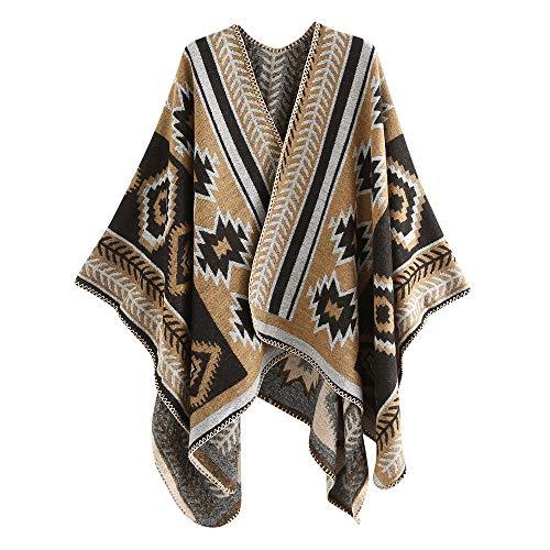 GreatestPAK Damen Kaschmir Halstuch Colorblock Streifen Wolle Weich Quaste Schal,Khaki,130 * 150cm