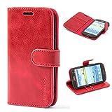 Mulbess Ledertasche im Ständer Book Case / Kartenfach für Samsung Galaxy S3 / S3 Neo Tasche Hülle Leder Etui,Wine Rot