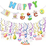 Howaf Easter Hanging Swirl Decorations Easter Egg Bunny Foil Swirl and Happy Easter Bunting Banner Hanging Decoration Ceiling Window Wall Home Easter Decoration Party Supplies