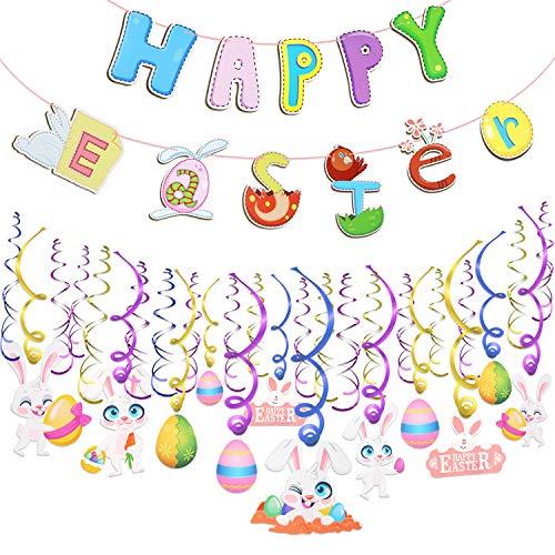 Howaf 30 Teilig Ostern deko hängende Spiralen Girlande Osterei Hase Wirbel und und Frohe Ostern Banner hängende Dekoration Decke Fenster Wand Ostern ()