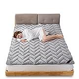 LJ&XJ Thicken tatami mattress,Soft warm memory foam sponge pad breathable tatami mat soft mattress topper-Grey Full