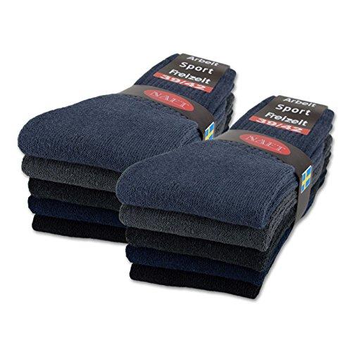 sockenkauf24 10 | 20 | 30 Paar Sportsocken Tennissocken Arbeitssocken Damen & Herren Socken in 5 Farben - Größe 35-50 wählbar (39-42, 10 Paar | Gemischt)