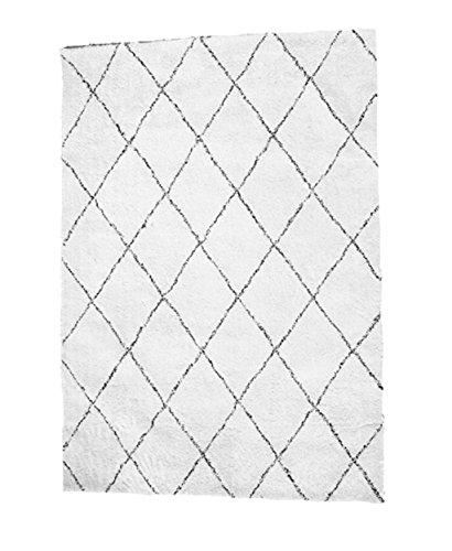 Carpet-G CGN Handgefertigte Teppich, Diamond Line schwarz und weiß Raute Teppich Wohnzimmer Schlafzimmer Studie Teppich weichen bequemen modernen einfach wert es haben weich (größe : 200 * 240cm) - Schwarzer Flokati-teppich