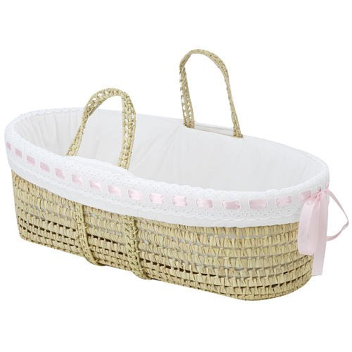 BabyDoll Bedding Baby Doll Bedding Pretty Ribbon Moses Basket, Pink