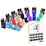 Zoegate Kinesiologie Tape, Sporttape Kinesiotape Physio Muskeln Tape Tapeverband Elastische Bandage + Step Guide (2 Pack-Königblau + Step Guide)
