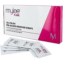 Mylee Removedor de Esmalte de Gel Profesional Almohadillas de Acetona Previamente Empapadas y Envolturas de Aluminio para Manicura y Pedicura, Limpiador de Decoración de Uñas - (100 toallitas)