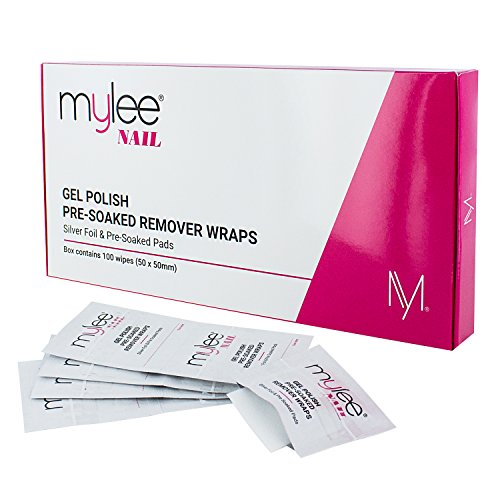 Mylee Professional Salon Gel Polish Remover Pre-Soaked Acetone Pads and Foil Wraps for Manicure and Pedicure, Nail Art Cleaner - (100 wipes)