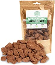 Pets Purest Natural Dog Treats 100% Pure Beef Bites Air-Dried Food for Dogs - Just One Ingredient - Grain, Glu