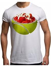Bang Tidy Clothing Mens Tennis T Shirt Strawberries & Cream Summer Top Short Sleeve Sports T Shirts