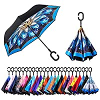 AmaGo Inverted Umbrella - Reverse Double Layer Long Umbrella, C-Shape Handle & Self-Stand to Spare Hands,Carrying Bag for Easy Traveling (Blazing Blue)