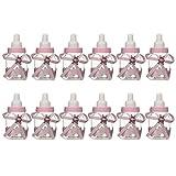 AOLVO Baby Flaschen Dusche, Gastgeschenken 12Mini Candy Flaschen Geschenk Box für Junge Mädchen Kinder Neugeborene Infant Taufe Taufe Geburtstag Party Dekoration Rose