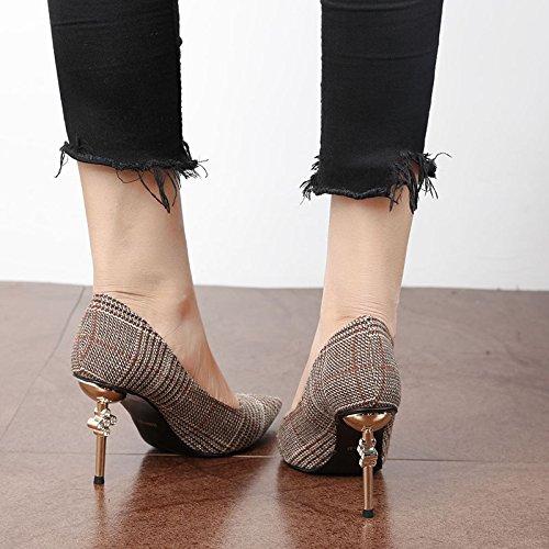 FLYRCX autunno, inverno, poco profonde, moda, tacco alto, high heeled shoes, signore di temperamento e personalità festa le scarpe B