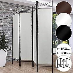 MIADOMODO Paravent Intérieur - 4 Panneaux, 180 x 160 cm, en Fer, Pliable, Choix de Couleur - Séparateur de Pièce, Brise Vue Intérieur, Cloison de Séparation