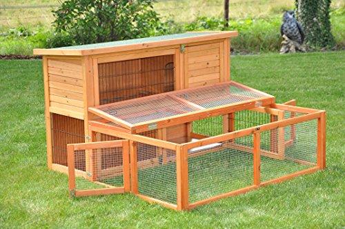 nanook Max – Freigehege zum Anbau für Kaninchenställe, klappbares und verriegelbares Dach, Farbe: natur – Größe S (123 x 80 cm) - 6