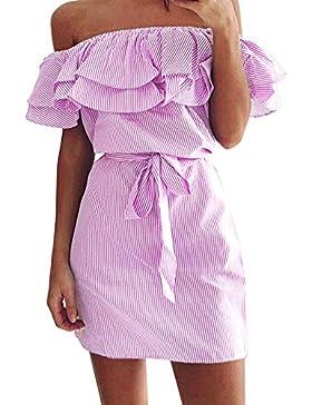 SKY Celebrate for the Summer !!!Mujeres Palabra falda rayas hombro cintura Summer Striped Off The Shoulder Ruffle...