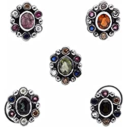 Shine Jewel 925 silver round multi cubic zirconia vintage style floral nose pin
