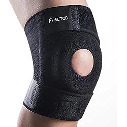 [Kniebandage] FREETOO Knieschoner atmungsaktiver Knieschützer verstellbare Knieorthese mit Gelenkschienen für Damen und Herren
