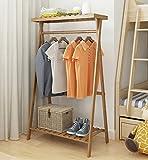 MOJ-YJ Boden Stehen Kleiderständer Kleidung Hut Stand Kleiderbügel Haken Einfache Creaive Rod Holz, 90 * 45 * 140 cm (Farbe: Log Farbe) (größe : 80*45*140cm)