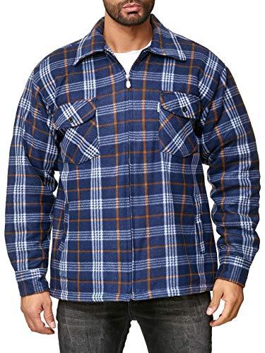 EGOMAXX Camisa térmica para Hombres Transición Chaqueta Leñador A Cuadros Fleece Franela, Color:Azul, Talla de Chaqueta:L
