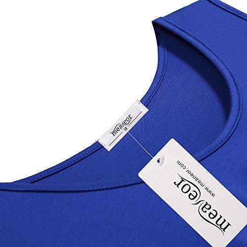 Meaneor Damen Ärmellos Bequem Loose Fit Taschentuch Saum Lange Tank Top Unregelmäßig Minikleid Sommerkleid Tunika Blau