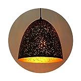 SISVIV Pierced Pendelleuchte orientalische Lampe Metallform Hängelampe retro verstellbare Altmessing Hollow Deckenleuchte E27 für Café Bar Esstisch Foyer Loft usw. Schwarz gold