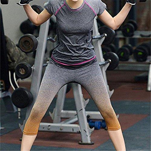 Fami Femmes Sport Pantalons de yoga Collants de compression élastique Fitness Femmes Running Pantalon Orange