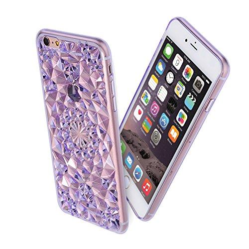 Forepin® Bling Diamant Muster Hülle Case Weicher TPU Bumper Cover Schutzhülle für iphone 6/iPhone 6s 4.7 Zoll Lila