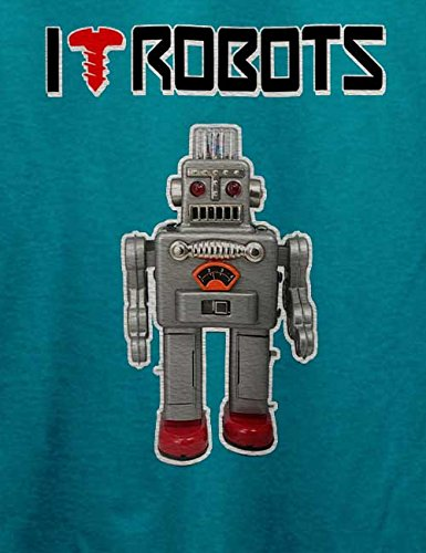 I Love Robots T-Shirt Türkis