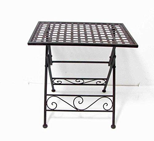 HFG Beistelltisch Tabletttisch Metall braun B 50 cm Klapptisch Gartentisch -