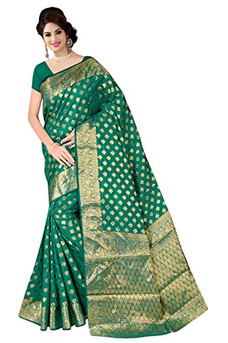 Boutique On Palm Bollywood Style New Generation Concept Party Wear Saree Banarasi Silk Sarees (Rama Jacquard Queen Pattern)