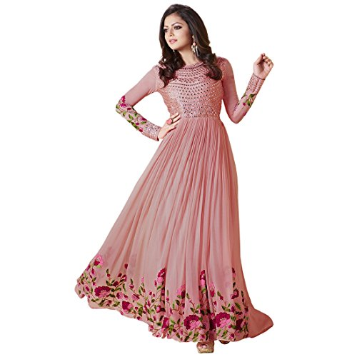 Ank Women\'s Pink Georgette Embroidered Semi-Stitched Anarkali Salwar Suit Set with Dupatta