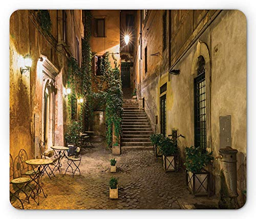 Drempad Gaming Mauspads, Cityscape Mouse Pad, Courtyard Night View with Street Lights Cafe Chairs Plants in Flowerpots Rome, Standard Size Rectangle Non-Slip Rubber Mousepad, Green Brown -