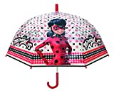 Chanos Chanos Miraculous Lady Bug Manual Dome Shape Poe Transparent Folding Umbrella, 48 cm, Red Parapluie Pliant, Rouge (Red)