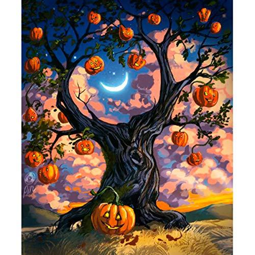 (Leezeshaw 5D DIY Full Drill Diamant Gemälde nach Zahlen Kits Fameless Strass Stickerei Gemälde Bilder für Home Decor – Kürbisbaum 30x40cm Pumpkin Tree)