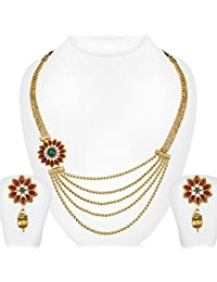 Spargz Gold & Red Brass Necklace Set For Women