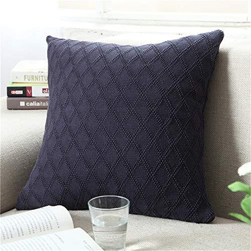 FL Bygo Gestrickte Baumwolle Einfarbig Kissenbezug Platz Sofa Warme Kissenbezug Gartenkissen Einfaches Zuhause (ohne Kissen),gemstoneblue