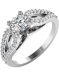 IskiUski White Gold And American Diamond Ring For Women - B075VHDHRY